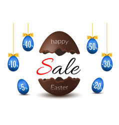 easter egg text sale chocolate happy egg vector image