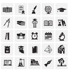 education and stydying set on squares background vector image
