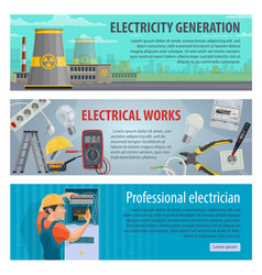 Electricity and energy power banners vector