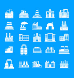 factory icon blue set vector image