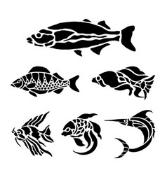 Fish animal aquatic black silhouette vector