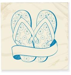 flip flop and banner doodle vector image