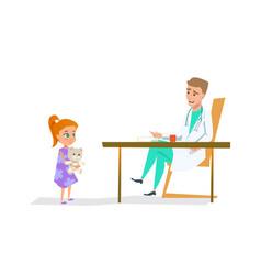 girl in pediatrician doctor office flat vector image