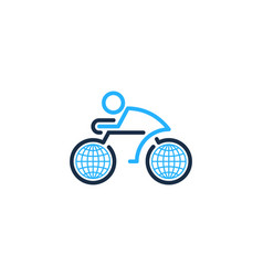 Globe bike logo icon design vector