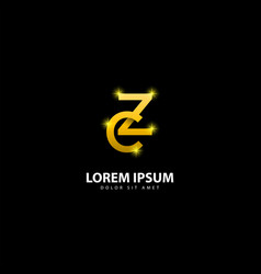 Gold letter z logo zc letter design with golden vector