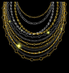 golden chain neck lace isolated on black vector image