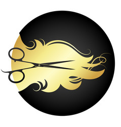 Golden hair curls and stylist scissors vector