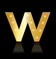golden letter w shiny symbol vector image