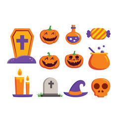 halloween element symbol set flat deign symbols vector image