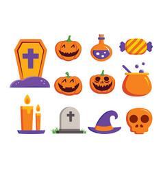 halloween element symbol set flat deign symbols vector image