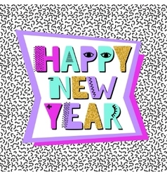 Happy new year banner in memphis style vector