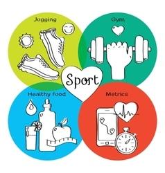 Healthy life concept handdrawn icons of jogging vector