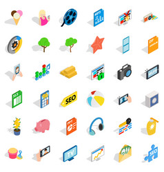help for seo icons set isometric style vector image