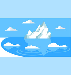 Iceberg floating in cold sea mountain vector