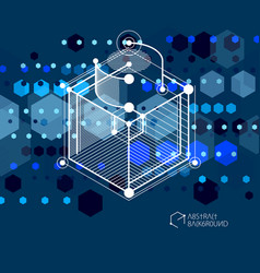 Isometric abstract dark blue background with vector