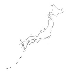 japan - solid black outline border map of country vector image