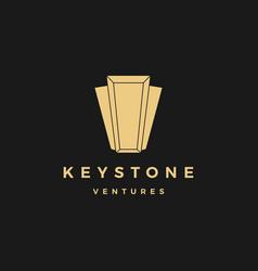 Keystone key stone logo icon line outline monoline vector