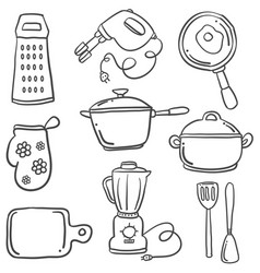 Kitchen set with doodle style vector