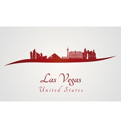 Las Vegas skyline in red vector