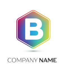 Letter b logo symbol in the colorful hexagonal vector