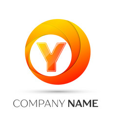 Letter y logo symbol in the colorful circle on vector