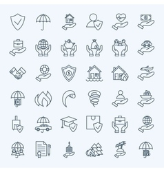 Line Insurance Service Icons Set vector image