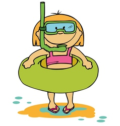little funny girl going to swim vector image