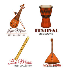 live music folk festival icons vector image