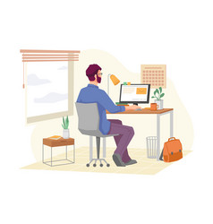 man working on project remotely in home office vector image