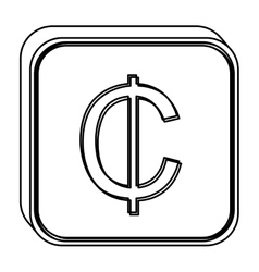 monochrome square contour with currency symbol of vector image