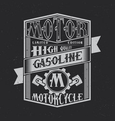 motor gasoline typography label design vector image