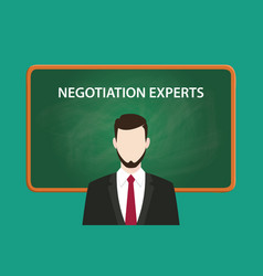 Negotiation experts white text with a vector