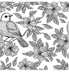 nightingale on branch seamless pattern vector image