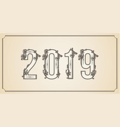 number 2019 year patterned with floral shapes vector image