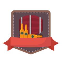 oktoberfest beer barrel and bottles drink emblem vector image