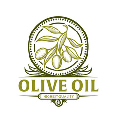 Olive branch icon for olive oil label vector