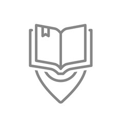 open book with location mark line icon city vector image
