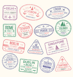 Passport stamp travel visa sign icon set vector