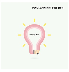 Pencil and light bulb on background vector image