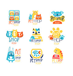 pet shop original label design colorful hand vector image