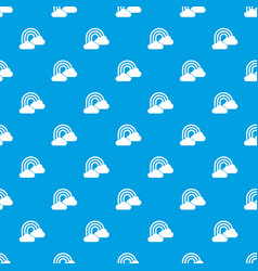 rainbow and clouds pattern seamless blue vector image