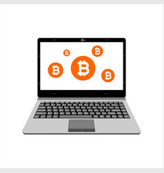 realistic laptop display bitcoin assets vector image