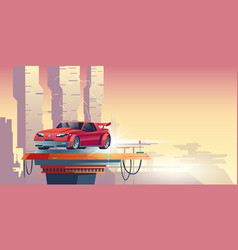 red robot car with silhouette transformer vector image