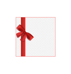 red satin ribbon tied to bow border 3d realistic vector image
