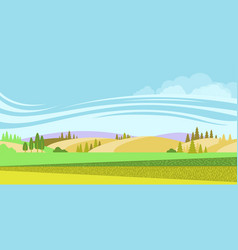 rural landscape nature background with fields vector image