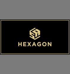 sa hexagon logo design inspiration vector image