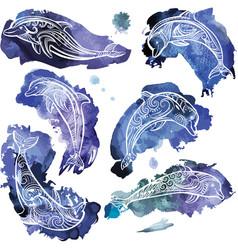 Set decorated dolphins vector