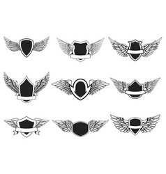 set empty emblems with wings isolated on white vector image