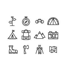 Set line art travel camping hiking icons vector