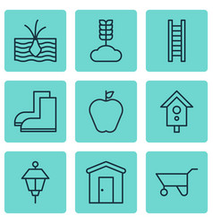 set of 9 agriculture icons includes birdhouse vector image
